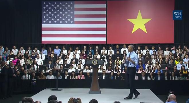 Tại buổi nói chuyện ông Obama đề cao sự năng động của giớitrẻ Việt Nam. (Ảnh: Internet)