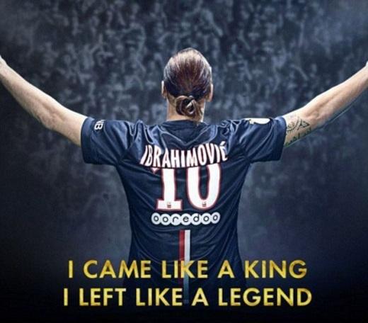 """Trên trang cá nhân, Ibrahimovic đăng bức ảnh có dòng chữ: """"Tôi đến như một vị vua và ra đi như một huyền thoại"""". Ảnh:Twitter Ibrahimovic."""