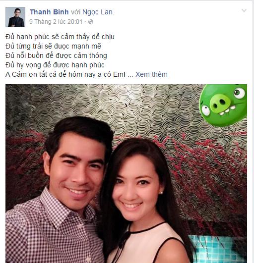 Lời tỏ tình ngọt ngào của Thanh Bình dành cho bạn gáitừng được anh chia sẻ trên trang cá nhân. - Tin sao Viet - Tin tuc sao Viet - Scandal sao Viet - Tin tuc cua Sao - Tin cua Sao