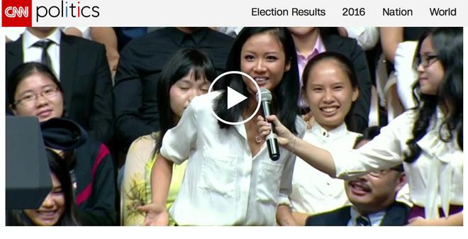 CNN đăng tải hình ảnh và clip biểu diễn ngẫu hứng của Suboi trong phần giao lưu với ông Barack Obama. Ảnh: CNN - Tin sao Viet - Tin tuc sao Viet - Scandal sao Viet - Tin tuc cua Sao - Tin cua Sao