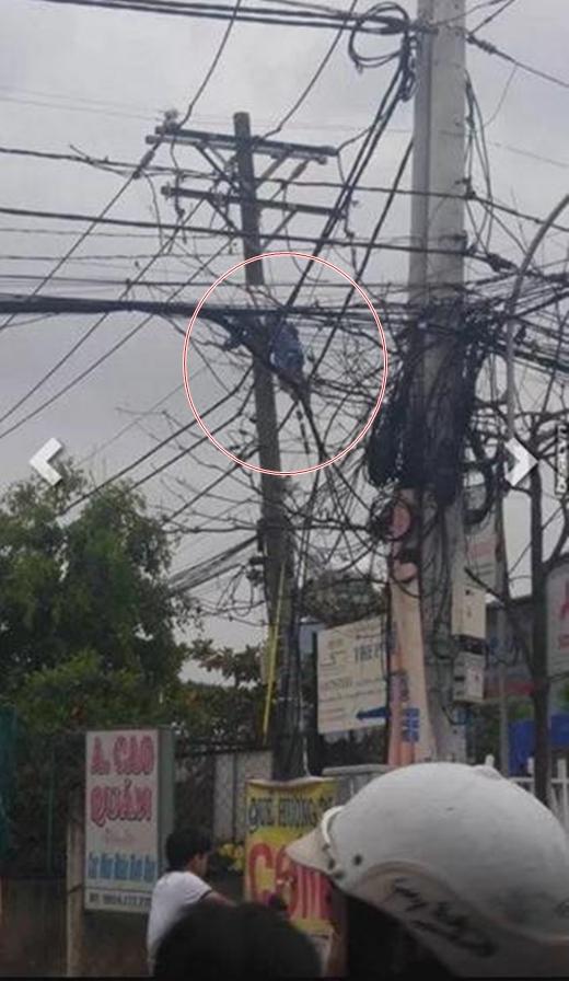 Hình ảnh người nhân viên sửa điện tử vong ngay trên cột cao thế khiến nhiều người dân chứng kiến vô cùng hoảng loạn. (Ảnh: Internet)