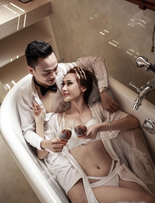 Ảnh cưới của nữ nhân viên ngân hàng gây tranh cãi (Ảnh: Ngoisao.net).