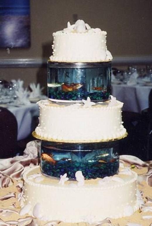 Đám cưới cũng phải thể hiện rõ quan điểm bảo vệ môi trường mà, trên bánh cười là mấy cái bể cá đang tung tăng giữa làn nước mát kìa, thật là ý nghĩa quá!