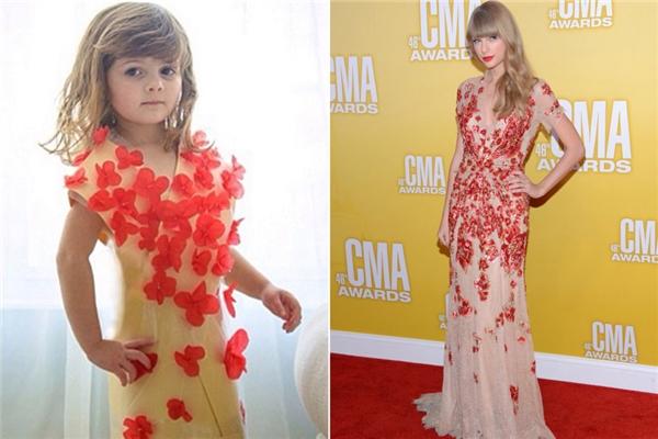 Chiếc đầm dạ hội đính hoa cua Jenny Packham mà Taylor Swift diện cũng được Keiser phù phép lại. (Ảnh: Internet)
