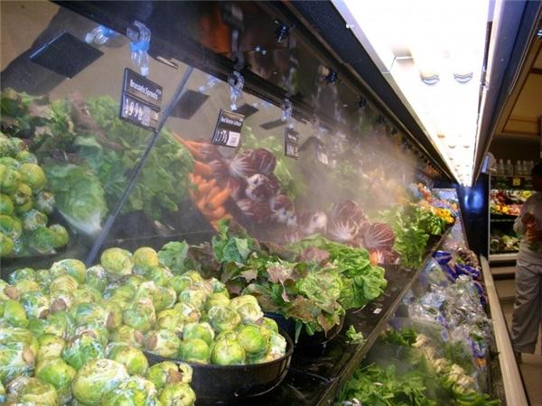5. Trái cây và rau củ được phun sương Thông thường rau củ, trái cây đã phần nào bị mất nước trước khi đến cửa hàng, siêu thị. Vì vậy, một lớp sương được phun lên nhằm giúp cho chúng trông tươi hơn và hấp dẫn hơn. Tuy nhiên, điều đó cũng khiến chúng nhanh hỏng hơn bởi quá nhiều nước có thể khiến vi khuẩn phát triển, đặc biệt là nấm. Ngoài ra, nước cũng khiến rau, củ tăng thêm trọng lượng.