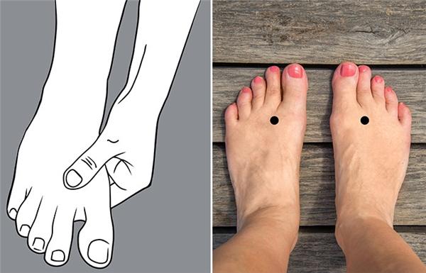 Để nhận dạng được điểm huyệt LV3, bạn đặt bàn tay như trong hình. Điểm huyệtnằm giữa ngón cái và ngón trỏ. Sau khi xác định được vị trí, lấy tay ấn nhẹ từ trên xuống dưới mỗi ngày 5 phút. (Ảnh: Internet)