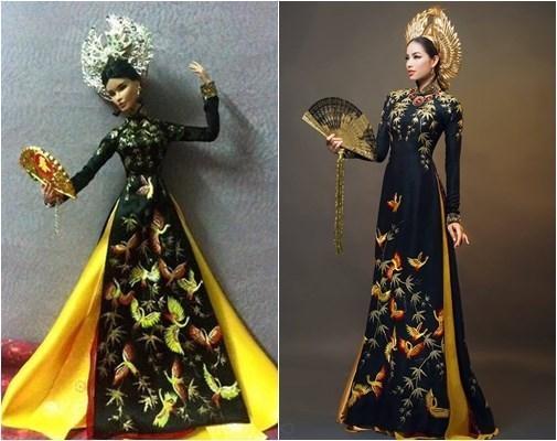"""Sau khi quốc phục của Phạm Hương tại Hoa hậu Hoàn vũ 2015 được công bố chính thức, những cô búp bê mặc trang phục tương tự đã trở thành cơn sốt được giới trẻ """"săn lùng""""."""