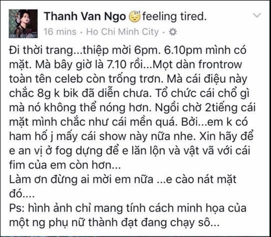 Chia sẻ của Ngô Thanh Vân khi show diễn chưa diễn ra. Cô cho biết không ham tham dự những sự kiện như thế này và đang cần thời gian chăm lo cho bộ phim ra mắt vào tháng 8 tới.