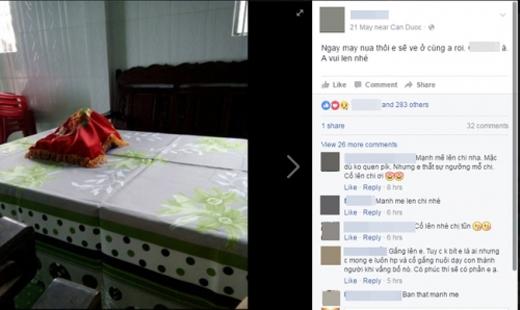 Lời chia sẻ của cô dâu trên facebook gây xúc động.