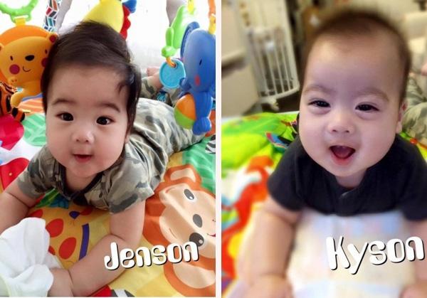 Hai bé Jenson và Kylson sở hữu ánh mắt và nụ cười giống bố như đúc