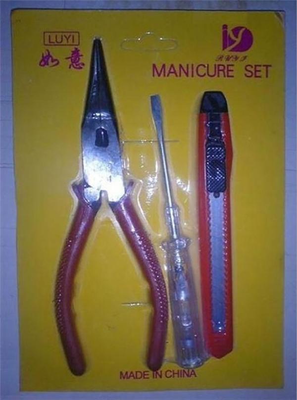 Đây là bộ dụng cụ... làm móng đặc biệt ở Trung Quốc đấy nhé.