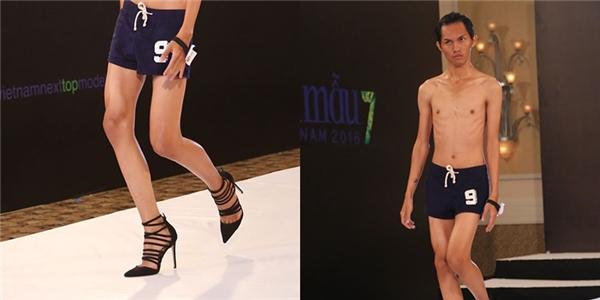 Chàng trai với thân hình gầy trơ xương tạo nên sự khác biệt khi catwalk với giày cao gót. Tuy nhiên, ban giám khảo không trao cơ hội cho thí sinh này đi tiếp.