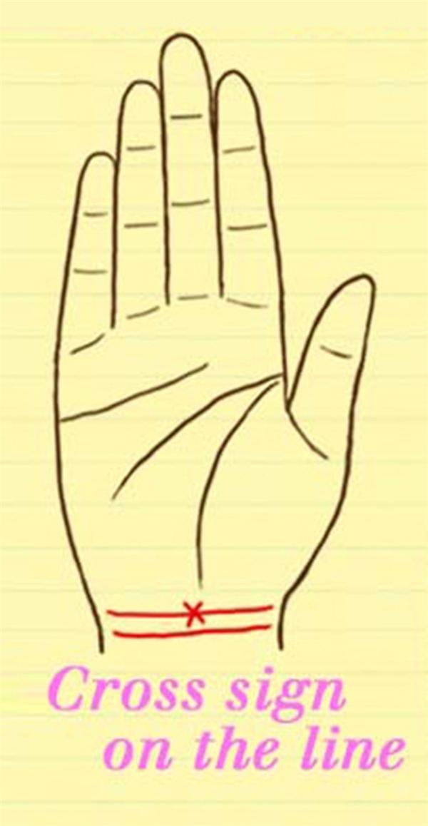 Nếu có một dấu thập xuất hiện trên đường cổ tay của bạn, thì bạn là người theo chủ nghĩa duy tâm và gặp nhiều thăng trầm trong cuộc sống. Tuy nhiên, hậu vận của bạn lại cực kì tốt.(Ảnh: Internet)