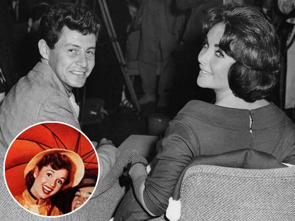 """Không chỉ diễn xuất tài tình, mà huyền thoại Elizabeth Taylor còn nổi tiếng vì đời tư rắc rối. Trong số các thị phi về bà, không thể không kể đến vụ """"cướp"""" người chồng Eddie Fisher của cô bạn thân Debbie Reynolds (ảnh nhỏ). Eddie trở thành người chồng thứ tư của Elizabeth, nhưng sự nghiệp của anh tan thành mây khói vì cô vợ cũ Debbie rất được lòng khán giả Mỹ lúc bấy giờ."""