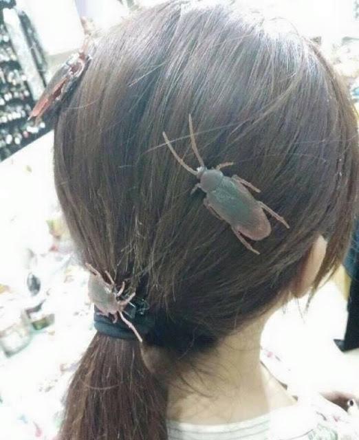 Cách đây không lâu, các cô gái Nhật Bản cũng từng rất thích thú chạy theo trào lưu... cài sâu bọ lên đầu hoặc đeo hoa tai sâu bọ trông rất kinh dị, dường như có ý muốn nói... không cần người theo đuổi.