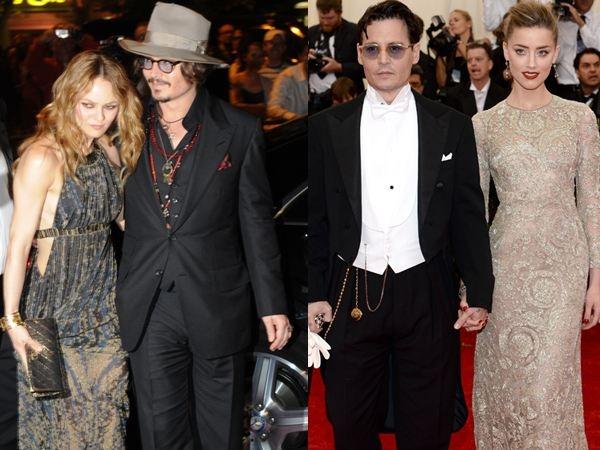 """Chung sống với Vanessa Paradis suốt 14 năm và có hai con với nhau, nhưng Johnny Depp chưa bao giờ tổ chức đám cưới với cô. Đến năm 2011, khi gặp Amber Heard qua bộ phim """"The Rum Diary"""", Johnny đã thay lòng đổi dạ dù vẫn đang gắn bó với Vanessa. Sau khi chia tay Vanessa và đến với Amber, Johnny đã cho tình nhân mới hai đám cưới - điều mà anh chưa từng làm với Vanessa. Riêng Vanessa sau này có bạn trai mới là Benjamin Biolay."""