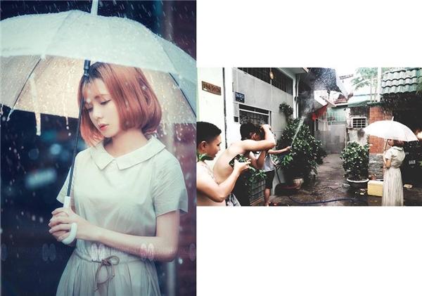 """Sự thật về """"cơn mưa"""" trong bộ ảnh được cô nàng chia sẻ khiến nhiều người thíchthú.(Ảnh: Internet)"""