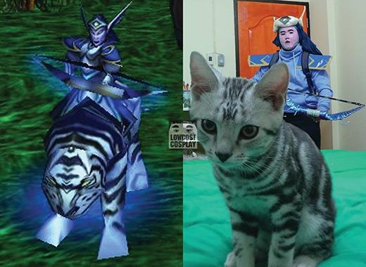 Nhân vật game trông hoành tráng thế mà lại được cosplay như... bức tượng bị tô hỏng, chưa kể con hổ uy nghiêm đã bị hóa phép thành con mèo.