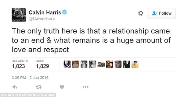 """Calvin ghi trên Twitter: """"Sự thật duy nhất ở đây là mối quan hệ này đã chấm dứt và những gì còn lại là sự yêu quý và tôn trọng lẫn nhau"""""""