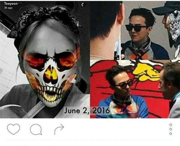 Trong cùng ngày 2/6 vừa qua, Taeyeon và G-Dragon cùng sử dụng khăn có họa tiết giống nhau. Đây được đánh giá là một trong những bằng chứng thuyết phục nhất trước giờ.