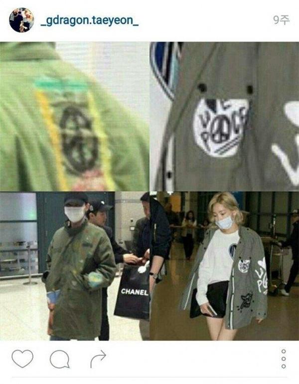 """Theo các fan """"bám càng"""" tại sân bay, G-Dragon và Taeyeon đã cùng diện chiếc áo khoáccó một số họa tiết giống nhau trong cùng một ngày."""
