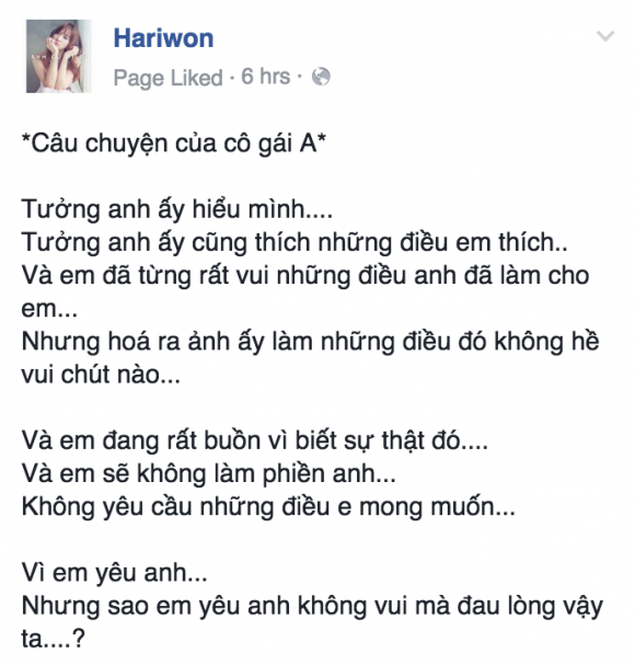 Dòng chia sẻ mới nhấttrên trang cá nhân của Hari Won. - Tin sao Viet - Tin tuc sao Viet - Scandal sao Viet - Tin tuc cua Sao - Tin cua Sao