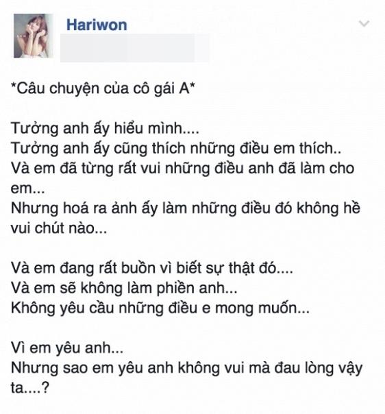 """""""Câu chuyện của cô gái A"""" được Hari chia sẻgây tò mò trên mạng xã hội. - Tin sao Viet - Tin tuc sao Viet - Scandal sao Viet - Tin tuc cua Sao - Tin cua Sao"""