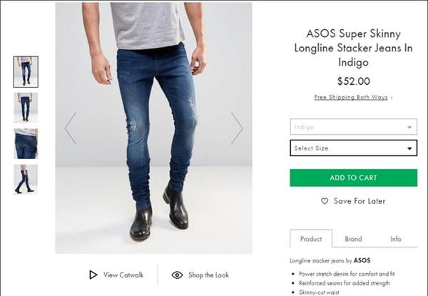 Thông tin trên website cho biết, chiếc quần có ống dài khoảng 81 cm. Số đo này là bình thường với một chiếc quần jeans. Tuy nhiên, khi đo thực tế chúng lại lên đến gần 130 cm. Và chắc chắn không ai có được đôi chân dài như thế này để có thể mặc được chiếc quần trọn vẹn.