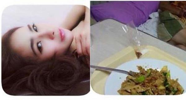 Bức ảnh cuối cùng mà Maythayar Ying đăng tải trên mạng xã hội là món mà cô ăn trong khi đợi bác sĩ thẩm mỹ (ảnh phải).