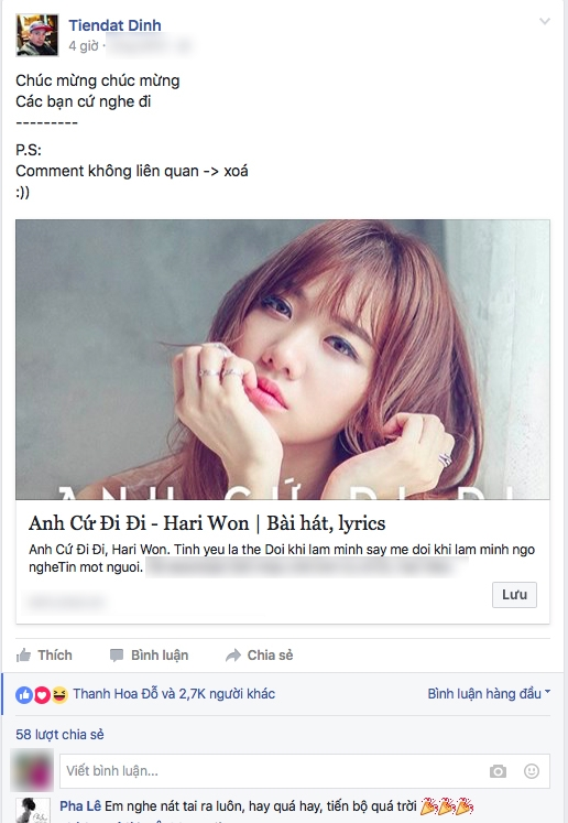 Chỉ trong thời gian ngắn mà bài post của Tiến Đạt đã nhận được sự quan tâm của đông đảo khán giả. - Tin sao Viet - Tin tuc sao Viet - Scandal sao Viet - Tin tuc cua Sao - Tin cua Sao