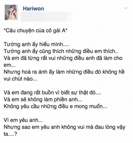 Dòng trạng thái gây nhiều hiểu lầm của Hari Won. - Tin sao Viet - Tin tuc sao Viet - Scandal sao Viet - Tin tuc cua Sao - Tin cua Sao
