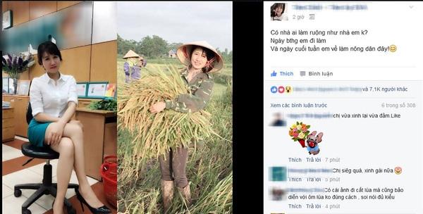 Bức ảnh giản dị của cô nhân viên ngân hàng giúp đỡ bố mẹ vào cuối tuần khiến dân mạng thích thú.