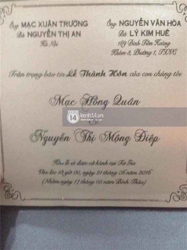 Thiệp cưới của Kỳ Hân và Mạc Hồng Quân đã được gửi tới tay bạn bè thân thiết. (Ảnh: Trí thức trẻ). - Tin sao Viet - Tin tuc sao Viet - Scandal sao Viet - Tin tuc cua Sao - Tin cua Sao