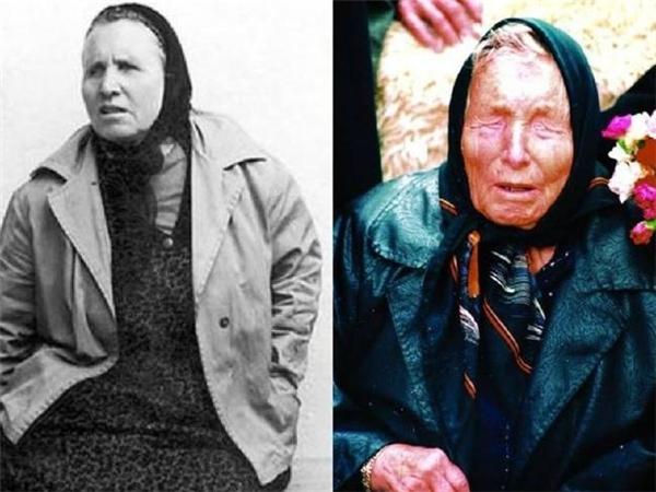 Bà Vanga thời trẻ (bên trái) và ở giai đoạn những năm cuối cuộc đời (phải) có nhiều dự báo rợn người về năm 2016
