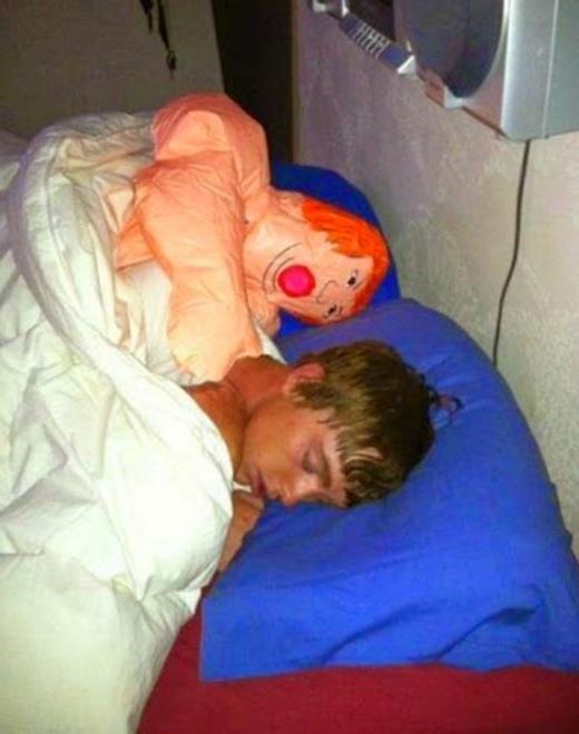 Tự dưng đang ngủ có thêm bạn sướng thế còn gì. (Ảnh: Internet)