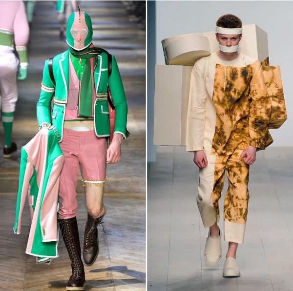 """Nếu không nói đến cách thiết kế trang phục thì bộ đồ bên trái được phối màu khá tươi sáng và dễ thương, còn anh chàng bên phải thì đích thị là... """"bệnh nhân trốn trại""""."""