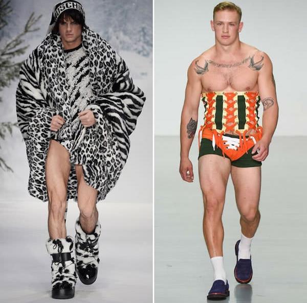 Trang phục bên trái là của Tarzan thời hiện đại, còn trang phục bên phải là... corset cách điệu cho phù hợp với nam giới.