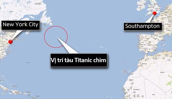 Vị trí tàu Titanic chìm giữa Đại Tây Dương.