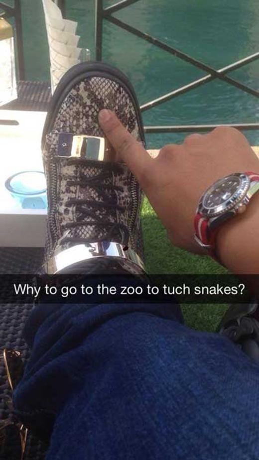 Cần gì đến sở thú mới được sờ thấy da rắn. (Ảnh: Internet)