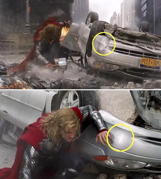 Chiếc xe hơi trong phim siêu anh hùng cũng có năng lưc tự chữa lành. Hẳn đây cũng là siêu xe rồi!(Ảnh: Internet)