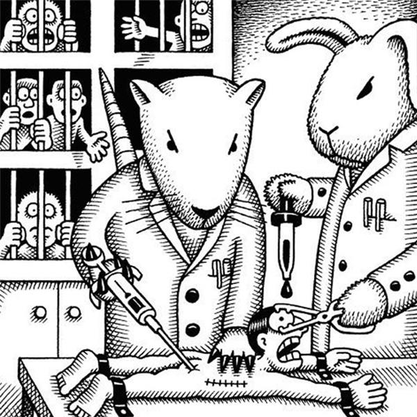 Hai nhà khoa học thỏ bắt đầu tiêm thuốc thử nghiệm vào con người. Nếu thành công, loại thuốc này sẽ giúp chúng kéo dài tuổi thọ. Đằng sau chúng, những con người khác đang kêu léo nhéo trong lồng, chờ đến lượt mình.