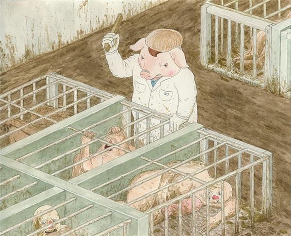 """Gã lợn đồ tể cầm gậy phang cật lực vào đầu con người vừa ngóc lên khỏi chuồng và kêu lên the thé. """"Im mồm, chưa đến giờ ăn,"""" hắn quát."""