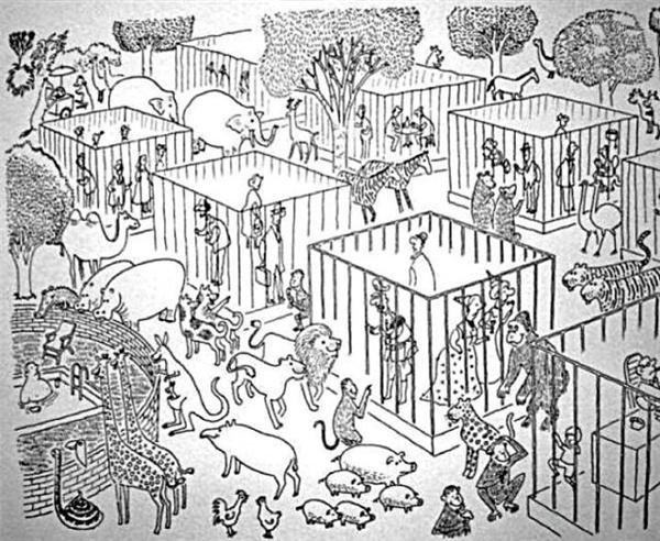 Sở người cuối tuần đông kín thú, các ông bố bà mẹ khỉ, gấu cõng con trên lưng, lê la khắp chuồng người này đến chuồng người khác, chỉ chỉ trỏ trỏ. Đám thú con cười khúc khích và vỗ móng vào nhau ra chiều thích thú lắm.