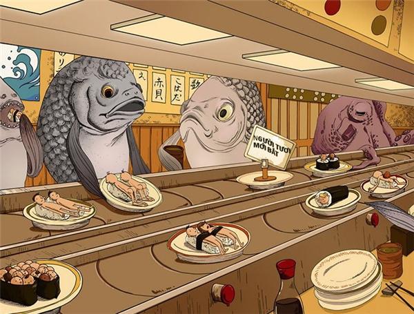 Trong một quán ăn Nhật, những miếng sushi căng tròn với những những lát thịt người đỏ tươi mọng nước phủ bên trên, chờ đợi đôi đũa của các vị thực khách cá sành ăn.