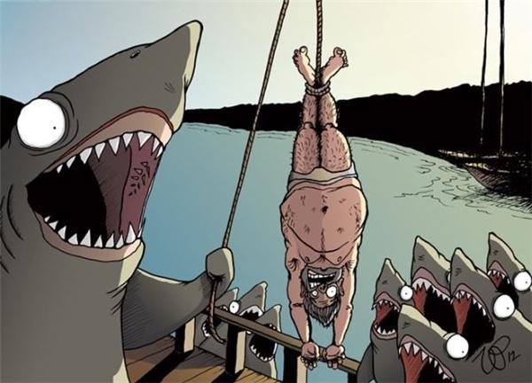 Thuyền trưởng cá mập nắm chặt lấy đầu dây và giật giật, con người đung đưa một cách trêu ngươi bên trên mặt nước, bên trên những cái miệng đầy răng sắc nhọn đang há ra hết cỡ chờ đợi.