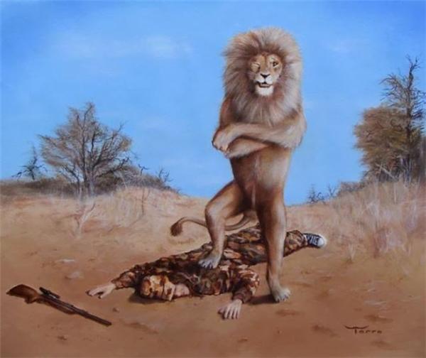 Sư tử đứng thẳng người, ngực ưỡn về phía trước, hai tay khoanh lại làm nổi rõ những bắp thịt cuồn cuộn, một chân nó đạp lên vai con người nằm bất động dưới mặt đất, mặt vênh lên đầy hãnh diện. Thợ chụp ảnh đã sẵn sàng bấm máy. Nó sẽ in to tấm ảnh này, lồng kínhvà treo giữa phòng khách.