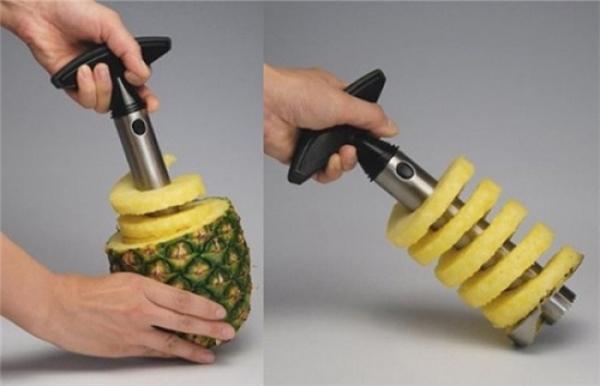 Một trái thơm cũng được cắt một cáchdễ dàng không kém. (Ảnh: Internet)
