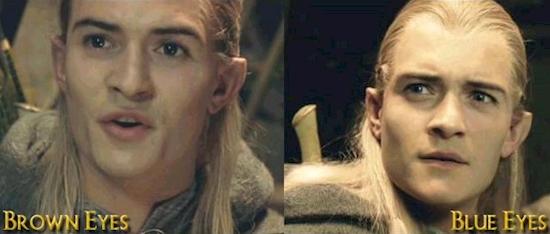 Màu mắt của Legolas thay đổi qua mỗi bộ phim, phảichăng đây là khả năng đặc biệt của yêu tinh?