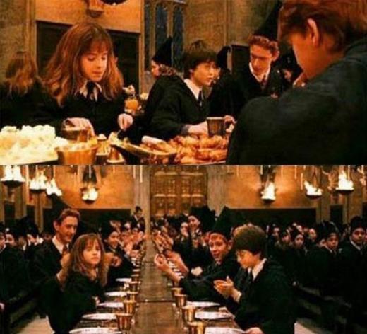Khi Harry Potter được nhận vào nhà Gryffindor, cậu đã tới ngồi đối diện Hermione, nhưng ngay ở cảnh sau, khán giả đã thấy Harry xuất hiện bên cạnh cô bé. Phải chăng đây là phép thuật mà những Muggle như chúng ta không thể hiểu.