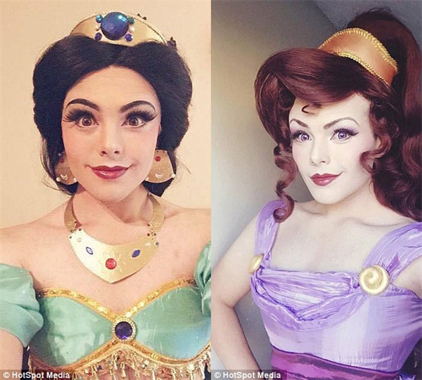 Anh cũng rất hào hứng khi hóa thân thành Công chúa Jasmine (ảnh trái) và người đẹp Megara (ảnh phải) trong bộ phim Hercules.
